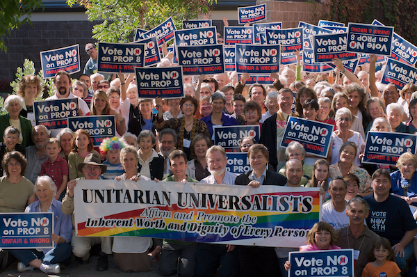 More than 200 UUCSR members crowded in front of the church on October 26th to support marriage equality with signs and banners urging 'No on Proposition 8: Unfair and Wrong'.